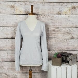J Crew Thin Light Gray V Neck Sweater Medium